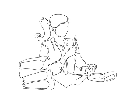 Continuous single drawn one line bookkeeper works with documents Illustration