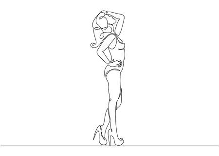 Continuous single drawn one line model podium high fashion Illustration