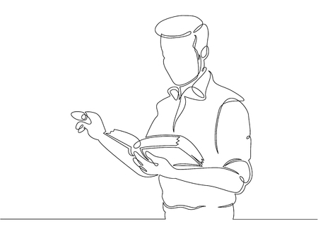 Continuous single drawn one line teacher with textbook Vector illustration.