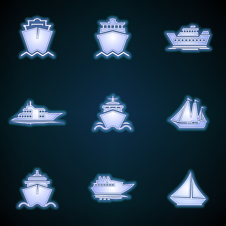 Ships, boats, cargo, logistics, transportation and shipping icons. Modern Neon Thin Icon of ship on Blue Background. Vector Glowing sign logo  isolated illustration