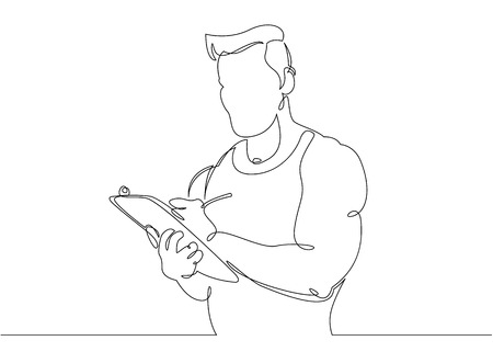 Continuous single drawn one line sports coach trainer