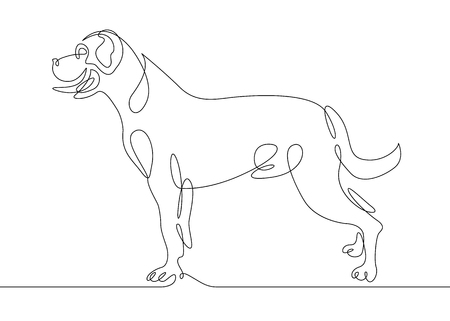 Continuous one drawn line of the logo symbol for the logo of the sitting reclining dog. The concept of wildlife, pets, veterinary. Standard-Bild - 100103697