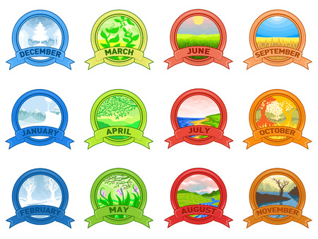 12 Months of the Year. Weather year information set. Illustration of a nature background in a round shape of the logo. Stok Fotoğraf - 100931759