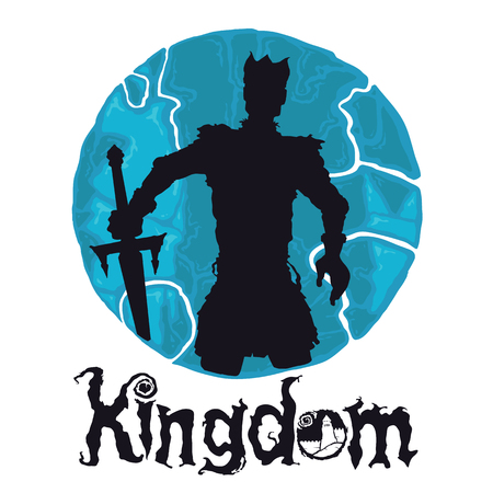 King Knight in armour on a colored background with a roundtable with the sword in hand at the bottom of the inscription KINGDOM logo.
