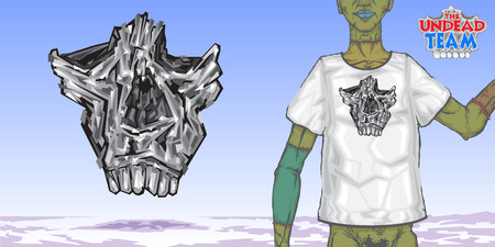 drawing for design of the skull t-shirt. Example of the figure shows a skull on modeli.Model clothes for zombi.logotip the undead team