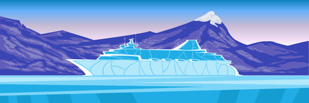 Colored sea panorama. Ship liner on the background of the port and harbor. Against the backdrop of the city and the blue sky Illustration