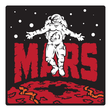 astronaut floating above the planet Mars 일러스트