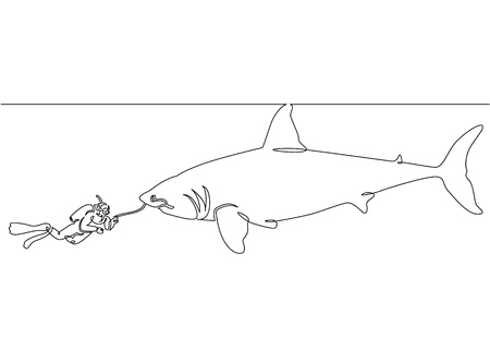Continuous single drawn one line of a scuba diver with a camera and a shark under the water Stock Photo