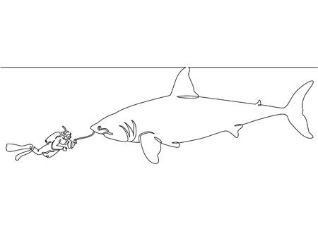 Ununterbrochene einzelne gezeichnete eine Linie eines Sporttauchers mit einer Kamera und einem Haifisch unter dem Wasser Standard-Bild