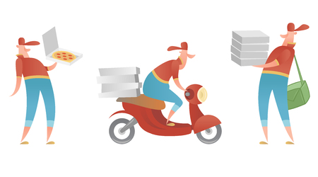 Vector isolated set of characters delivering pizza couriers. Animated flat cartoons style of the character. Stock Photo
