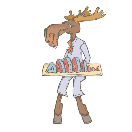 Vector isolated image of the character of the animal cook. National cuisine. Gastronomy. Elk, Scandinavia, fish, Surstromming, Lutefisk Иллюстрация