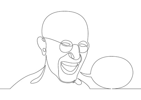 One continuous single drawn character line from comics. A man speaking,Speech Balloon concept.