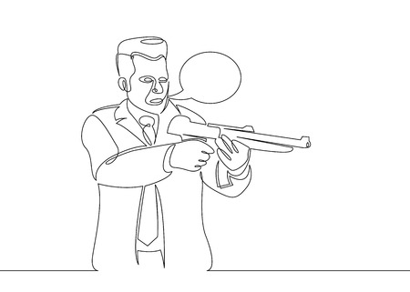 One continuous single drawn character line from comics.Gangster man with guns in his hands.Speech Balloon concept.
