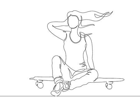 One continuous single drawn line, a girl skater, the character skates on a skateboard. The concept of a sports extreme logo, site design and printing.