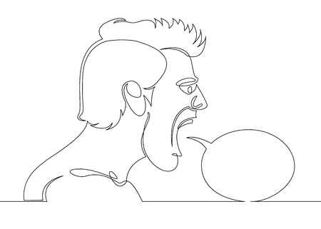 One continuous single drawn line of comics character of the male head screams says.Speech Balloon concept.