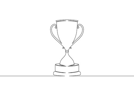 Continuous one drawn single line winning cup. Concept continuous image, winner, champion, cup, trophy, success, win, award, victory, sport, competition. Ilustração