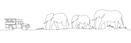 One continuous single drawn line safari panorama of an African landscape elephants. Safari truck with tourists. Wild nature . Tourist walk in the shroud.