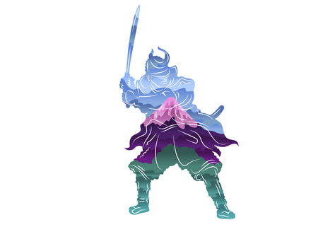 Colored isolated painted single lines of japan samurai Mount Fuji. Gradient carved silhouette. Symbol sign logo of the history of japan. Armor sword landscape volcano. Blue purple green.