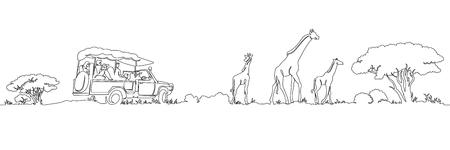 One continuous single drawn line safari panorama of Africa's giraffes landscape. Safari truck with tourists. Wild nature . Tourist walk in the shroud. Vettoriali