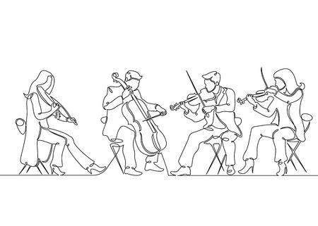 Musicisti di violino quartetto musicale disegnato una singola linea continua. Musica classica, musicista, arte, strumento, concerto, classica, orchestra, violoncello, violinista, banda. Vettoriali