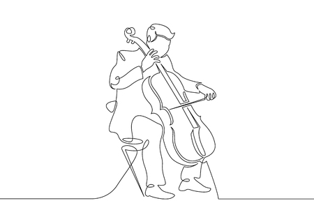A continuous single drawn single line of a musician is played by a cellist man. Classical music, concert, cello,play, violin, classical, instrument, string, music, fiddler, performer, artistic Ilustração