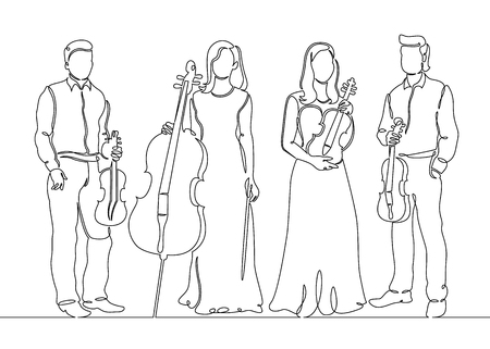 Continuous one single line drawn musical quartet violin musicians. Classic music, musician, art, instrument, concert, classical, orchestra, cello, violinist, band.  イラスト・ベクター素材
