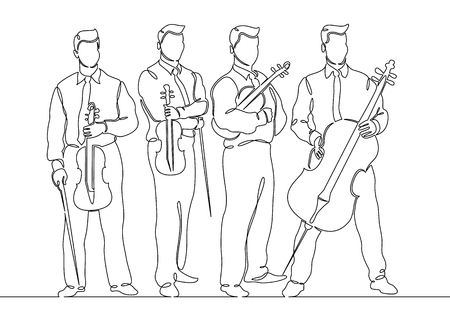 Continuous one single line drawn musical quartet violin musicians. Classic music, musician, art, instrument, concert, classical, orchestra, cello, violinist, band. Stock Illustratie