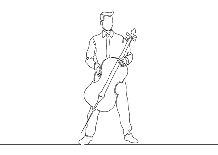 A continuous single drawn single line of a musician is played by a cellist man. Classical music, concert, cello,play, violin, classical, instrument, string, music, fiddler, performer, artistic