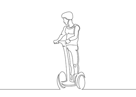 Continuous single drawn one art line electric self-balancing vehicle with two gyroscope wheels. Ecologically clean high-tech alternative transport. A self-balancing scooter, hoverboard, self-balancing board.Male character manages transport.