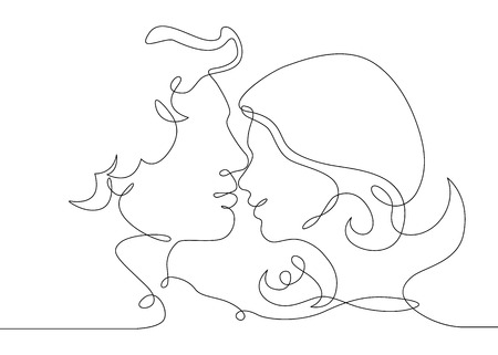 Continuous one drawn single line of romantic kiss of two lovers, newlyweds, young people.Loving couple embracing and kissing, valentines day,women and men in love.Heads of kissing