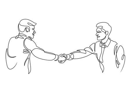 One Line Drawing or Continuous handshake businessman. Two smiling businessmen shaking hands together, shaking hands to seal a deal with his partner. Illustration