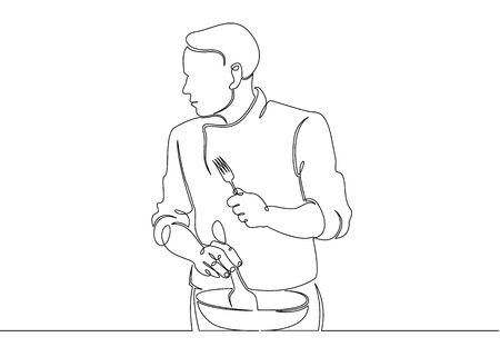 Continuous line drawing single line chef cooking gourmet meal,chef preparing food.The cook prepares food in the kitchen