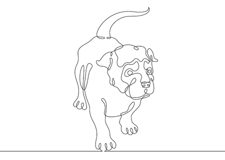 One continuous drawn single art line doodle sketch character pretty little cute puppy