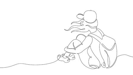 Un continuou, dessiné une seule ligne d'art doodle dessin croquis touristique randonnée sac à dos pique-nique montagnes