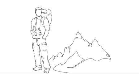 One continuou, drawn single art  line  doodle  drawing  sketch tourist hiking backpack picnic mountains