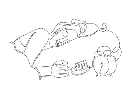 Une ligne d'art unique dessinée en continu doodle croquis personnage fille femme sommeil se réveille réveil du matin
