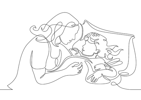 One continuous drawn single art line doodle sketch character mother wakes up daughter, mother sleeps with baby