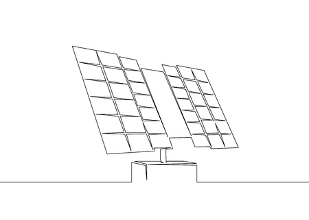 One continuous drawn single art line doodle sketch solar panel battery, clean ecological renewable energy, ecology. Иллюстрация