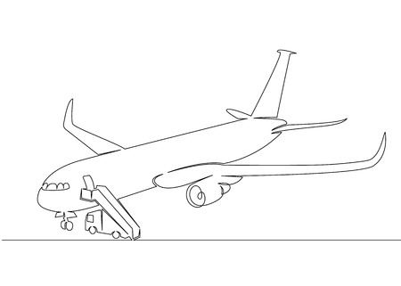 One continuous drawn single art line doodle drawing sketch cargo transport aircraft,airplane,plane. Concept of global container transport, logistics of export and import of international transport.