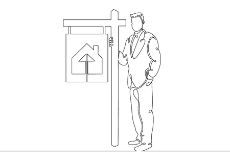 One continuous drawn single art line doodle sketch realtor stands in the signboards of a poster selling a cottage house . The concept of real estate sales Illustration