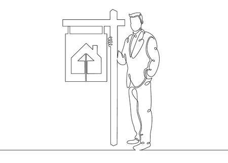 Un agent immobilier de croquis de griffonnage de ligne d'art unique dessiné en continu se tient dans les enseignes d'une affiche vendant une maison de campagne. Le concept de vente immobilière Vecteurs