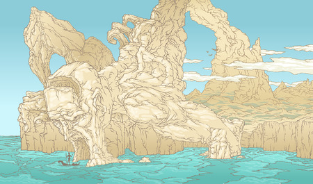 Color illustration of handwork drawing of a rocky island. Mystical rocks and mountains in the form of a giant skeleton. Boat gondola cave skull bay. Ilustração Vetorial