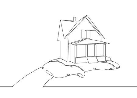 Une ligne d'art unique dessinée en continu doodle croquis mains symbole clés maison. Le concept de vente immobilière