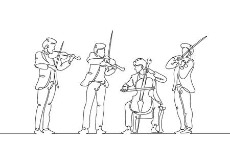 Musiciens de violon quatuor musical dessinés sur une seule ligne continue