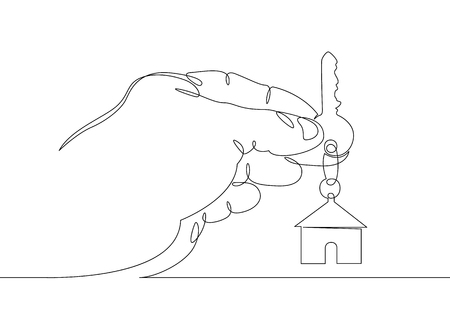 One continuous drawn single art line doodle sketch hands symbol keys house. The concept of real estate sales