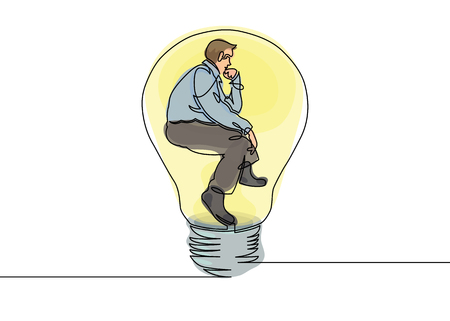 Multicolored isolated translucent color illustrations Continuous one drawn line silhouette of a businessman sitting in  pose of a thinker in a light bulb. Allegory of solution and creative search. Electric lamp.Thinking manager sitting in the light bulb