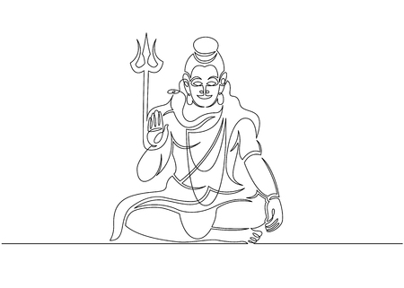 One continuous single drawn line art doodle spirituality happy Shiva indian culture .Isolated image of a hand drawn outline on a white background.