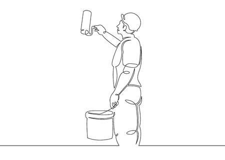 Een doorlopende enkele getekende lijn kunst doodle huis schilder bouwer, bouw, reparatie. Geïsoleerde afbeelding van een hand getekende schets op een witte achtergrond.