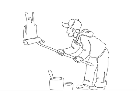 One continuous single drawn line art doodle house painter builder,construction, repair .Isolated image of a hand drawn outline on a white background.