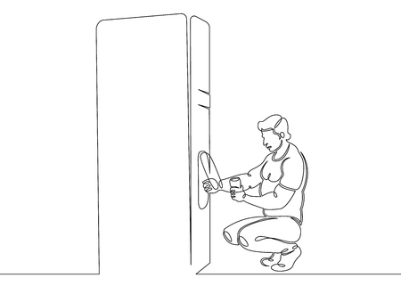 One continuous single drawn line art doodle man  buys food in the machine, vending, service, drink, person, beverage, business, food  . Isolated image of a hand drawn outline on a white background.
